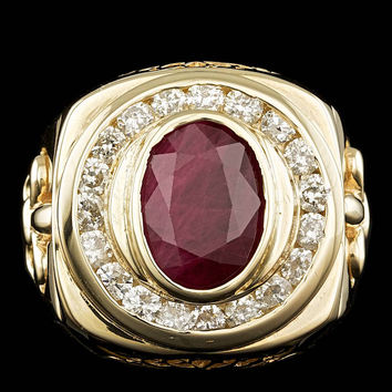 14K YELLOW GOLD 7.00CT RUBY 2.10CT DIAMOND MENS RING