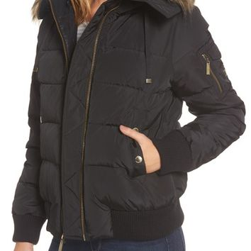 MICHAEL Michael Kors Missy Water Resistant Puffer Bomber Jacket with Detachable Hood and Faux Fur Trim | Nordstrom