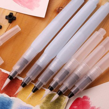 3 pcs/lot Water Piston Writing Watercolor Brush Art Markers 12cm Traditional Chinese Japanese Calligraphy Drawing Pen Beginner