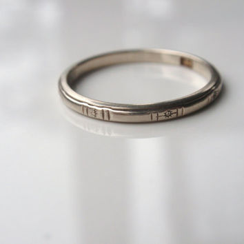 Wedding Ring 14k band white gold engraved stamped simple dainty