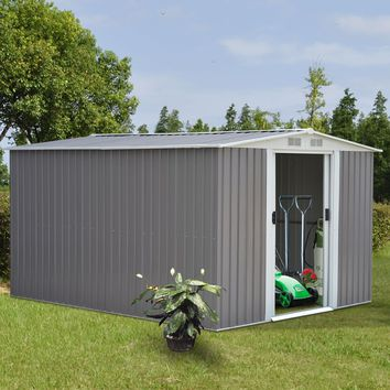10 x 8FT Garden Storage Shed Tool House Sliding Door Galvanized Steel Gray New