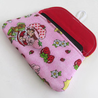Strawberry Shortcake iPhone Clutch / Strawberries Phone Case / Mini Clutches / Makeup Bag