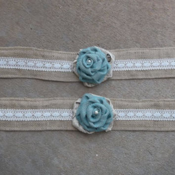 Burlap Curtain Tieback with burlap flower set of 2   More colors available