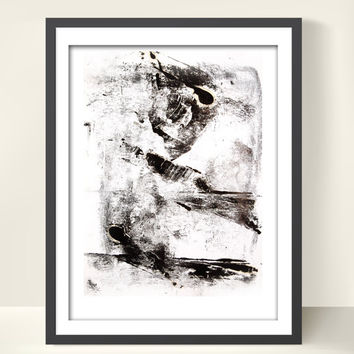 Modern Wall Art, Abstract Black and White Art Print, Print from Engraving, Modern Art