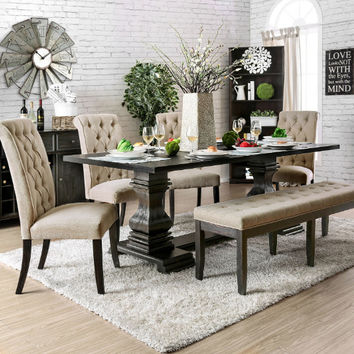 Furniture of america CM3840T-6PC 6 pc nerissa antique black finish wood trestle base dining table set with bench