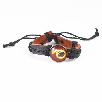 Sport Bracelet Washington Redskins Team Charm Bracelet Genuine Leather Bracelet Outdoor Jewelry For Women  6pcs/lot