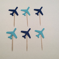 Shades of Blue Airplane cupcake toppers. Airplane Party picks, Party decor, baby shower, happy birthday, 18 per order.