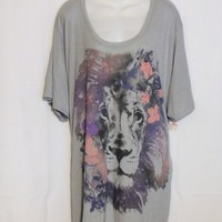 Just My Size Plus Size 5X Tee Shirt Gray Cat Print New