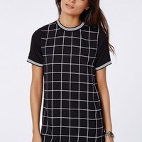 Missguided - Jeane Contrast Sleeve T-Shirt Dress Black/White