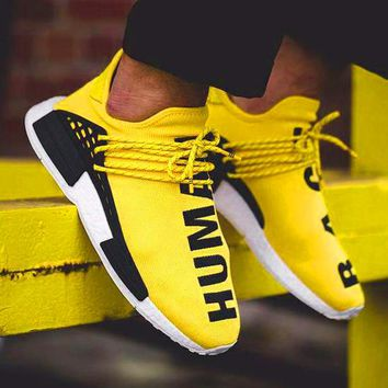 Adidas NMD Human Race Fashion Women Men Leisure Running Sports Shoes Sneakers Yellow I/A