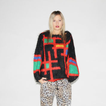 Vintage 80s Abstract Colorblock New Wave Graphic Punky Mohair Sweater – Vanguard Vintage Clothing
