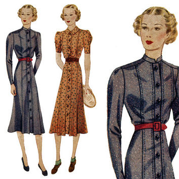 1930s Dress Pattern Bust 34 Simplicity 2488 Modest Front Button Day or Sport High Neck Dress Straight Skirt Womens Vintage Sewing Patterns