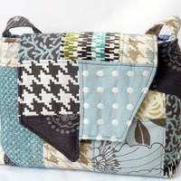 Rain Girl Designs — Blue and Brown Unique Patchwork Shoulder Bag