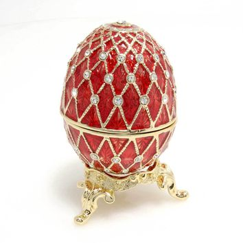 "Vintage Trinket Box Inspired by infamous ""A red diamond Faberge egg"" this one is made of Swarovski Crystal"