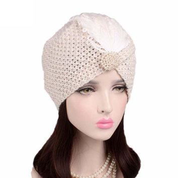 Vantage Feather Knitted Hats for Women Ladies Hat Beanie Turban Head Wrap Cap