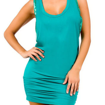 Sequin Trim Tunic Dress in Teal