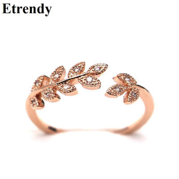 Simple Rhinestone Leaf Rings For Women Bijoux Classic Gold Plated New Fashion Jewelry Open Ring Cute Gift
