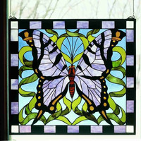 "0-011253>23""h Purple Butterfly Window"