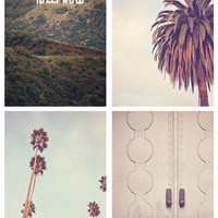 HOLLYWOOD set of 4 - Photographic Print - california, los angeles, art, photography, oscars, mint, green, natural,  film, movie, palm trees