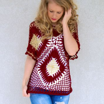 Crochet Sweetie Top: Burgundy