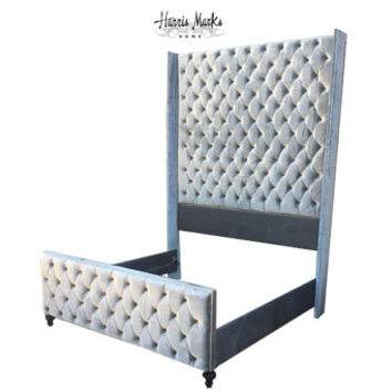 Wingback Bed Tall Ceiling Height King Bed Silver Velvet Extra Tall Tufted Upholstered Nail Head Trim BY CUSTOM ORDER