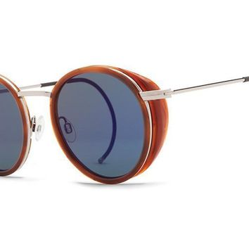VonZipper - Empire Havana Tortoise VTB Sunglasses, Vintage Gray Blue Flash Lenses