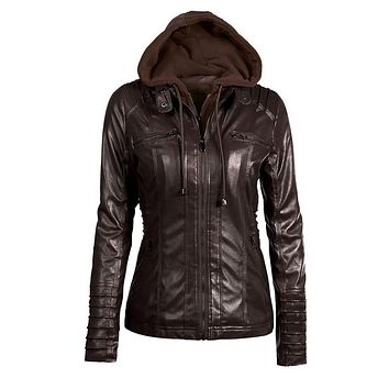 2017autumn and winter women's attachable hooded moto biker zipper up faux leather jackets PU juniors motorcycle jacket 6XL 7XL