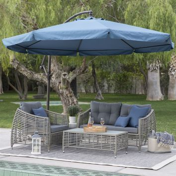 Navy Blue 11-Ft Offset Steel Patio Umbrella Gazebo Canopy with Removable Mosquito Netting