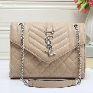 """Yves Saint Laurent YSL"" Women Simple Fashion Quilted Metal Chain Single Shoulder Messenger Bag Handbag"