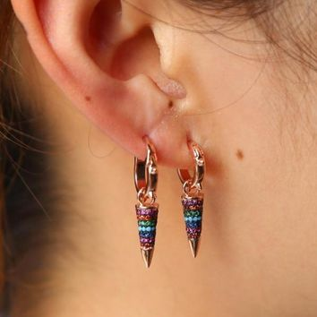 Rainbow Spike Drop Earrings