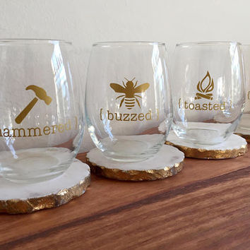 Toasted, Hammered, Buzzed & Lit 4 Piece Wine Glass Set - Stemless Wine Glass - Birthday Gift - Holiday Gift - Drinkware Set - Gift Set