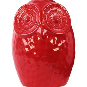 Ceramic Gloss Finish Red Round Owl Figurine