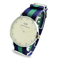DW Sporty Nylon Strap Wristwatch (Blue and Green)