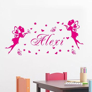Fairies Butterflies Hearts Wall Art Decals Customize Any Name Removable Vinyl DIY Wall Stickers Home Decor For Girls Bedoom