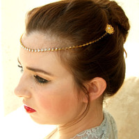 Gold Crystal headband ,Bridal headpiece, Forehead Chain, Wedding Hair Accessories, Gold Headpiece, Hair Jewelry, Bridal Halo