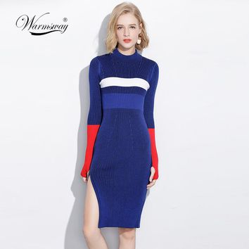 Warm and Charm Women Dresses Fall Winter Long Sexy Bodycon Split dress Elastic Striped Knitted Sweater With Thumb Hole C-066