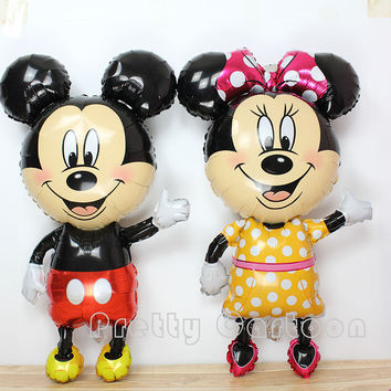 HOT mickey mouse head balloon pink minnie foil balloons for childrens birthday party decoration helium ballons 63*60cm