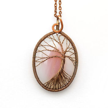 Tree-of-Life Pendant • Tree-of-life jewelry • Tree of life copper • Wire tree of life • Tree of life copper • Rose agate pendant • Gift