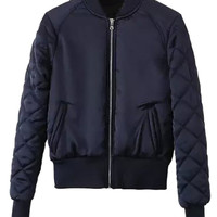 Navy Blue Zip Up Pocket Detail Long Sleeve Bomber Jacket