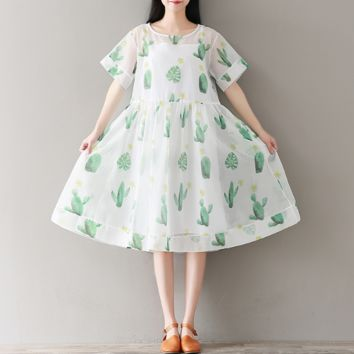 CACTUS SHORT - SLEEVED EUGEN YARN DRESS