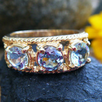 Topaz eternity ring, three stone ring, 3 gem ring, alternative engagement or wedding ring, November birthstone, conflict free recycled gold
