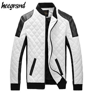 New Design Men's Jacket Winter&Autumn PU Leather Black&White Fashion Slim Plaid Jacket For Man