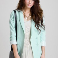 Mint Double Breast Blazer by Chic+ - Outers - Retro, Indie and Unique Fashion