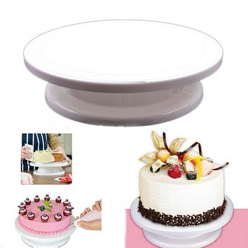 2017 Kitchen Cake Plate Revolving Decoration Stand Platform Turntable Round Rotating Cake Swivel Christmas Baking Tool