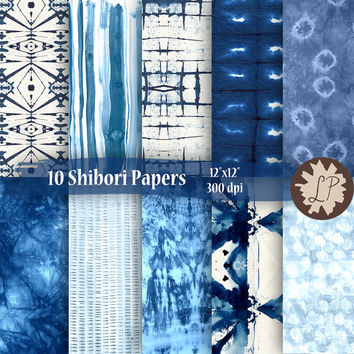 Blue Shibori Digital Paper, indigo shibori PRINTABLE hand dyed papers for blog banners, etsy photo, planner dividers, giftwrap by LIZPLUMMER