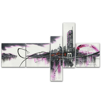 Modern Purple Cityscape Canvas Wall Art Oil Painting