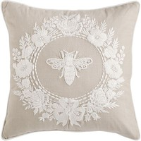 Romantic Glam Bee and Floral Wreath Pillow