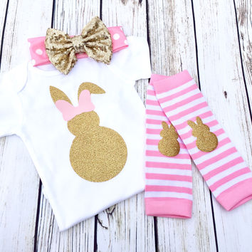 {Bunny Bow} Pink & Gold
