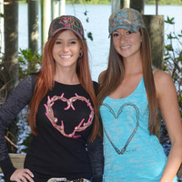 Camo Heart Hook Fishing Hats