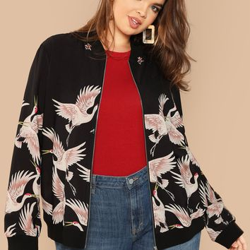 Plus Crane Bird Print Bomber Jacket